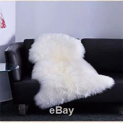 39 x 78 inch Natural White Large Genuine Sheepskin Rug Fleece Extra Thick Fur