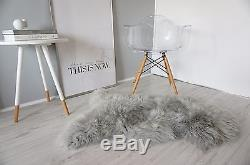 Amazing Genuine Real Sheepskin Rug Soft Fluffy Silky Warm Wool Silver/ash