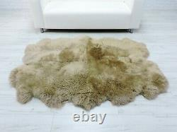 Beige Quad British Sheepskin Rug Real Fur Throw Dyed Floor Sofa Bed Cover Qbb