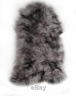 Black Tipped Grey Genuine Large Icelandic Sheepskin Rug with Extra Thick Wool
