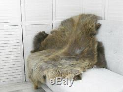 Brown Grey Sheepskin Rug Genuine Icelandic Soft Long Fur Natural Shaggy Rug G28
