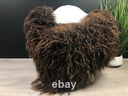 Brown White Curly Icelandic Sheepskin Rug Pelt Genuine Leather Seat Cover