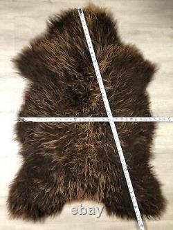 Curly Brown Icelandic Sheepskin Rug Genuine Natural Soft Seat Cover