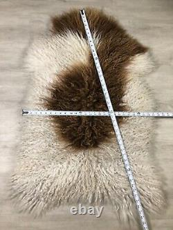 Curly White Brown Icelandic Sheepskin Rug Pelt Genuine Leather Seat Cover Throw