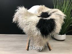 Curly White Gray Icelandic Sheepskin Rug Genuine Natural Soft Seat Cover