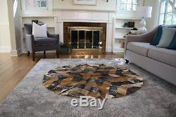 Genuine Accent Rug Cowhide Hand Stitched Rug Cow skin Leather Carpet (61X61)