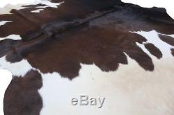 Genuine Cowhide Rug Black Brown and White Tricolor 5x6 ft Large CowSkin Area Rug