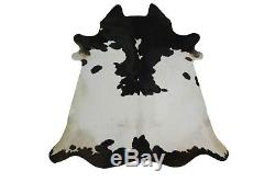 Genuine Natural Cowhide Rug Black and White Small 3x4 ft Real Cow skin Rug