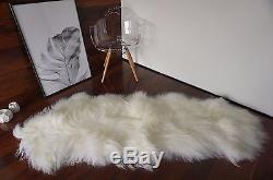 Genuine Natural Double Icelandic Sheepskin Rug Soft Creamy White Long Wool