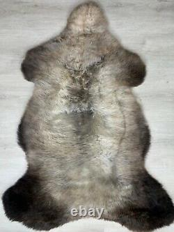 Genuine Natural Sheepskin Rug / Brown Gray Throw Seat Cover Soft Wool