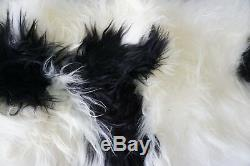 Genuine Rare Breed Icelandic-Double(2)Natural Sheepskin Rug White Brown DI 40 us