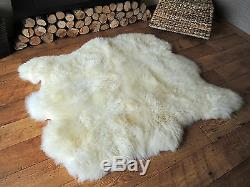Genuine Side By Side Double Sheepskin Rug Super Soft Wool Creamy White Color
