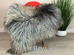 Gorgeous Curly Silver Gray Sheepskin Rug Pelt Genuine Seat Cover Motorcycle Hide