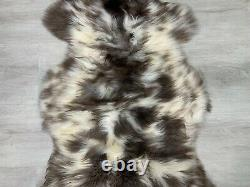 Gorgeous Natural Cream White Brown Spotted Sheepskin Rug Pelt Genuine Leather