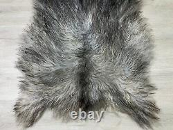 Icelandic Curly Silver Gray Sheepskin Rug Pelt Genuine Seat Cover Pet Bed