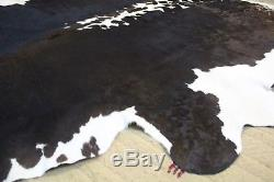 Large Black and White Cowhide Rug Cow skin Area rug hair on Genuine Leather 5x7