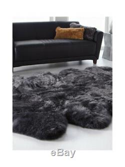 Large Eight Pelt Real Brazilian Sheepskin Fur Rug Dyed Solid Gray