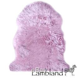 Lilac Genuine Large Sheepskin Rug with Extra Thick Wool / British Made