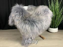Luxurious Steel Gray Icelandic Sheepskin Rug Pelt Genuine Leather Cover Throw