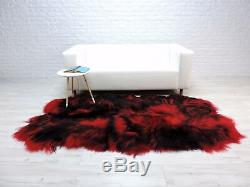 Luxury real ICELANDIC QUAD sheepskin rug red/black dyed RBQ