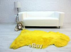 Massive Sheepskin Rug Yellow Neon Shag Rug Genuine Leather Chair Cover 392