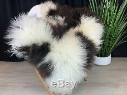 New! Gorgeous Natural White Brown Spotted Sheepskin Rug Pelt Genuine Leather