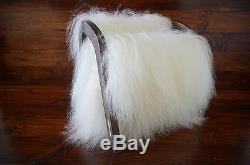 Oak wood Magazine Rack with genuine white rare Icelandic sheepskin rug 2 us