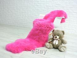 Real British Sheepskin Rug Double Sheepskin Neon Pink Thick Deep Pile #135