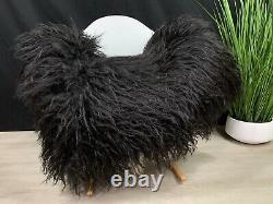 Real Curly Icelandic Black White Sheepskin Rug Pet Bed Throw Seat Cover