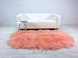 Real ICELANDIC QUAD Sheepskin Rug Blush Pink Throw Dyed Sofa Floor Bed Cover QP1