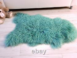 Real Icelandic Sheepskin Rug Mint Color Curly Hair Mongolian Style Area Rug 475