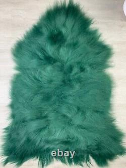 XXL Large Icelandic Dyed Green Real Sheepskin Rug Pelt Seat cover pet bed throw